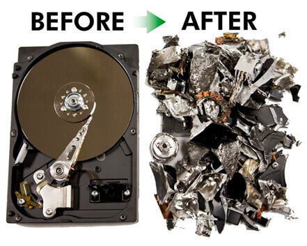 Before and after data destruction